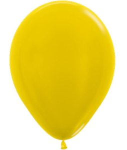 Balão de Festa Latex R12'' 30cm - Amarelo Metal - 50 unidades - Sempertex Cromus - Rizzo Festas