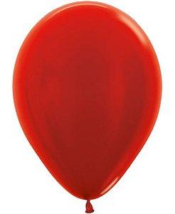Balão de Festa Latex R12'' 30cm - Vermelho Metal - 50 unidades - Sempertex Cromus - Rizzo Festas