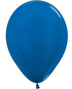 Balão de Festa Latex R12'' 30cm - Azul Metal - 50 unidades - Sempertex Cromus - Rizzo Festas