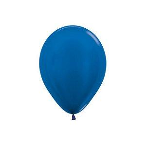 Balão de Festa Latex R5'' 12cm - Azul Metal - 50 unidades - Sempertex Cromus - Rizzo Festas