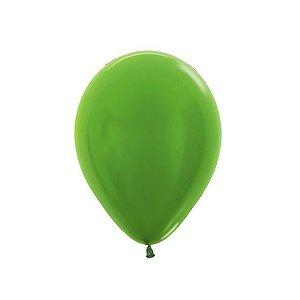 Balão de Festa Latex R5'' 12cm - Verde Lima Metal - 50 unidades - Sempertex Cromus - Rizzo Festas
