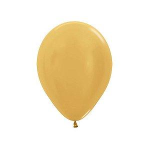 Balão de Festa Latex R5'' 12cm - Dourado Metal - 50 unidades - Sempertex Cromus - Rizzo Festas