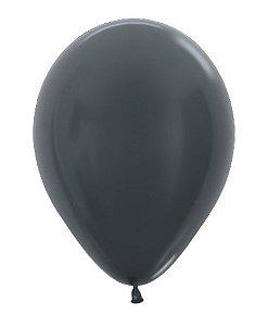 Balão de Festa Latex R10'' 25cm - Grafite Metal - 50 unidades - Sempertex Cromus - Rizzo Festas