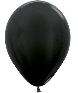 Balão de Festa Latex R12'' 30cm - Preto Metal - 50 unidades - Sempertex Cromus - Rizzo Festas