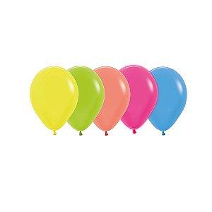 Balão de Festa Latex R5'' 12cm - Sortido Neon - 50 unidades - Sempertex Cromus - Rizzo Festas