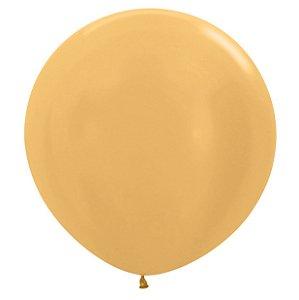 Balão de Festa Latex R36'' 91,5cm - Metal Dourado - 02 unidades - Sempertex Cromus - Rizzo Festas