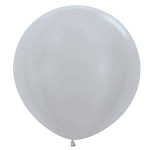 Balão de Festa Latex R36'' 91,5cm - Satin Prata - 02 unidades - Sempertex Cromus - Rizzo Festas