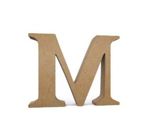 Letra MDF Cru - M - 12x10cm - Rizzo Embalagens