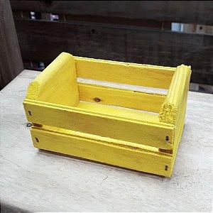 Mini Caixote Madeira - Amarelo 8x12cm - Rizzo Embalagens