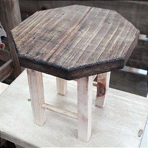 Mini Banquinho Madeira p Decoração Pati - Cru 17x17,5cm - Rizzo Embalagens