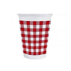 Copo de Plástico Xadrez Vermelho 200ml - 25 unidades - Kaixote - Rizzo Festas
