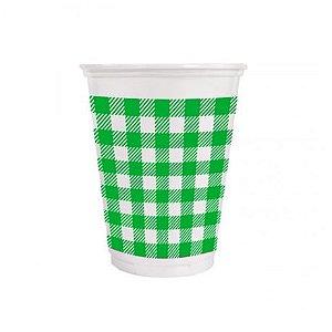 Copo de Plástico Xadrez Verde 200ml - 25 unidades - Kaixote - Rizzo Festas