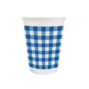 Copo de Plástico Xadrez Azul 200ml - 25 unidades - Kaixote - Rizzo Festas