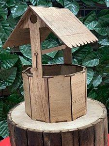 Cachepot Decorativo Poço em Madeira Rústico - 21,4cm x 14,7 - Rizzo Embalagens