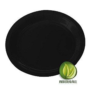 Prato de Papel Biodegradável Preto 18cm - 10 unidades - Silverplastic - Rizzo Embalagens
