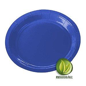 Prato de Papel Biodegradável Azul 18cm - 10 unidades - Silverplastic - Rizzo Embalagens