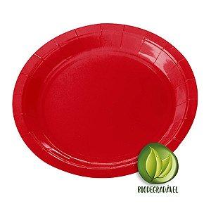 Prato de Papel Biodegradável Vermelho18cm - 10 unidades - Silverplastic - Rizzo Embalagens