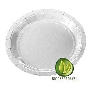 Prato em Papel Biodegradável Branco 18cm - 10 unidades - Silverplastic - Rizzo Festas