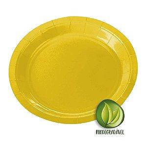 Prato de Papel Biodegradável Amarelo 18cm - 10 unidades - Silverplastic - Rizzo Embalagens