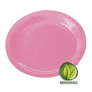 Prato de Papel Biodegradável Rosa Bebê 18cm - 10 unidades - Silverplastic - Rizzo Embalagens