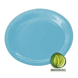 Prato de Papel Biodegradável Azul Claro 18cm - 10 unidades - Silverplastic - Rizzo Embalagens
