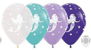Balão de Festa Latex R12'' 30cm - Fashion Sereia Sortido - 60 unidades - Sempertex Cromus - Rizzo Festas