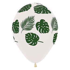 Balão de Festa Latex R12'' 30cm - Cristal Folhas - 60 unidades - Sempertex Cromus - Rizzo Festas