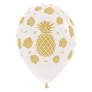 Balão de Festa Latex R12'' 30cm - Cristal Abacaxi - 60 unidades - Sempertex Cromus - Rizzo Festas