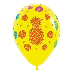 Balão de Festa Latex R12'' 30cm - Fashion Tropical Amarelo - 60 unidades - Sempertex Cromus - Rizzo Festas