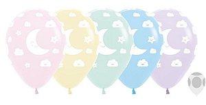 Balão de Festa Latex R12'' 30cm - Pastel Matte Sol e Lua Sortido - 12 unidades - Sempertex Cromus - Rizzo Festas
