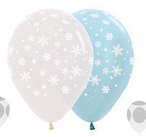 Balão de Festa Latex R12'' 30cm - Cristal e Satin Neve Composê - 60 unidades - Sempertex Cromus - Rizzo Festas