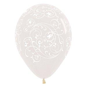 Balão de Festa Latex R12'' 30cm - Cristal Arabesco Filigree - 60 unidades - Sempertex Cromus - Rizzo Festas