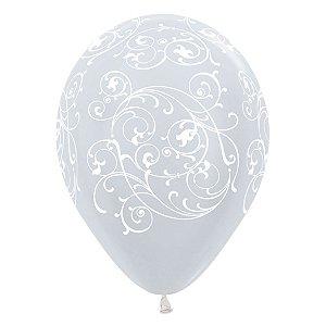 Balão de Festa Latex R12'' 30cm - Satin Arabesco Filigree Pérola - 60 unidades - Sempertex Cromus - Rizzo Festas