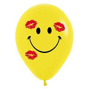 Balão de Festa Latex R12'' 30cm - Fashion Carinha com Beijos - 12 unidades - Sempertex Cromus - Rizzo Festas