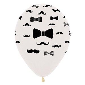 Balão de Festa Latex R12'' 30cm - Cristal Bigode e Laço - 12 unidades - Sempertex Cromus - Rizzo Festas