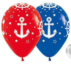 Balão de Festa Latex R12'' 30cm - Fashion Náutico Composê - 12 unidades - Sempertex Cromus - Rizzo Festas