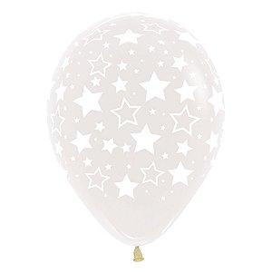 Balão de Festa Latex R12'' 30cm - Cristal Estrelas - 12 unidades - Sempertex Cromus - Rizzo Festas
