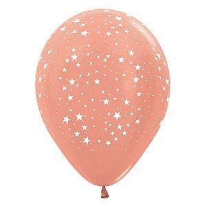 Balão de Festa Latex R12'' 30cm - Metal Estrelinhas Rose Gold - 12 unidades - Sempertex Cromus - Rizzo Festas