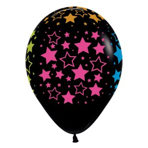 Balão de Festa Latex R12'' 30cm - Fashion Estrelas Neon - 12 unidades - Sempertex Cromus - Rizzo Festas