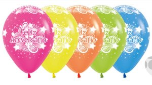 Balão de Festa Latex R12'' 30cm - Neon Feliz Aniversário - 60 unidades - Sempertex Cromus - Rizzo Festas