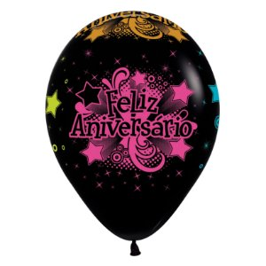 Balão de Festa Latex R12'' 30cm - Fashion Neon Feliz Aniversário - 12 unidades - Sempertex Cromus - Rizzo Festas