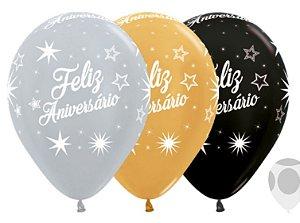Balão de Festa Latex R12'' 30cm -Satin e Metal Feliz Aniversário Brilho Deluxe Sortido - 60 unidades - Sempertex Cromus - Rizzo Festas