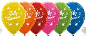 Balão de Festa Latex R12'' 30cm - Metal Feliz Aniversário Brilho Sortido - 60 unidades - Sempertex Cromus - Rizzo Festas
