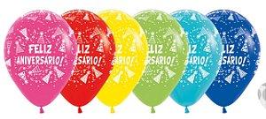Balão de Festa Latex R12'' 30cm - Fashion Feliz Aniversário Gorro Sortido - 60 unidades - Sempertex Cromus - Rizzo Festas