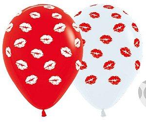 Balão de Festa Latex R12'' 30cm - Fashion Beijos Composê - 60 unidades - Sempertex Cromus - Rizzo Festas