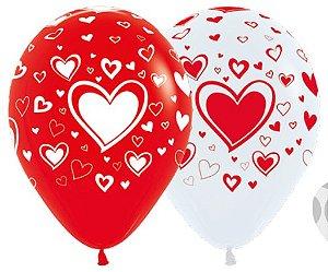 Balão de Festa Latex R12'' 30cm - Fashion Corações Composê - 60 unidades - Sempertex Cromus - Rizzo Festas