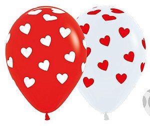 Balão de Festa Latex R12'' 30cm - Fashion Corações Classic Composê - 60 unidades - Sempertex Cromus - Rizzo Festas