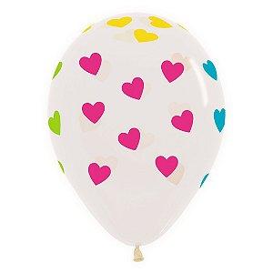 Balão de Festa Latex R12'' 30cm - Cristal Neon Corações - 12 unidades - Sempertex Cromus - Rizzo Festas