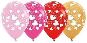 Balão de Festa Latex R12'' 30cm - Fashion e Metal Corações Sortidos - 12 unidades - Sempertex Cromus - Rizzo Festas