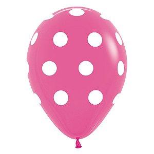 Balão de Festa Latex R12'' 30cm - Polka Dot Fashion Fúcsia - 60 unidades - Sempertex Cromus - Rizzo Festas